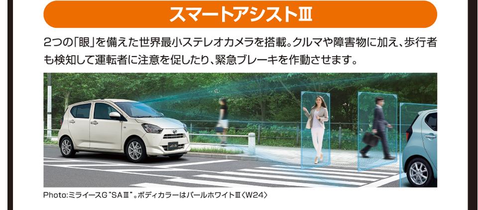 スマートアシストⅢ 2つの「眼」を備えた世界最小ステレオカメラを搭載。クルマや障害物に加え、歩行者も検知して運転者に注意を促したり、緊急ブレーキを作動させます。